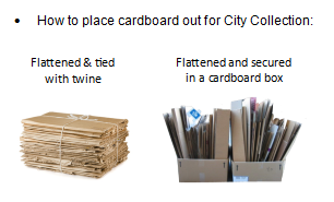 How to place cardboard out for City Collection: Flattened and tied with twine, or flattened and secured in a cardboard box.