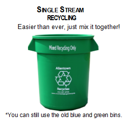 Single Stream Recycling. Easier than ever, just mix it together! You can still use the old blue and green bins.